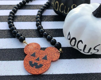 Glitter Mickey Pumpkin Necklace
