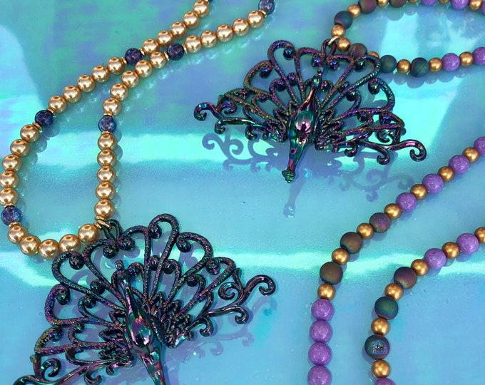 The Show Stopper - Gemstone Beaded Peacock Necklace