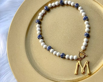 The LuLu - Bamboo Initial Wood and Chinoiserie Bead Choker