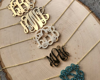Custom Short Acrylic Monogram Necklace - Chain