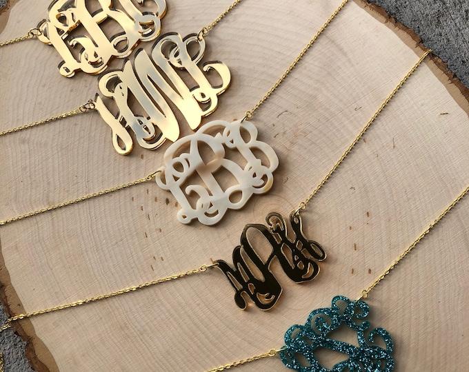 Custom Short Acrylic Monogram Necklace - Chain