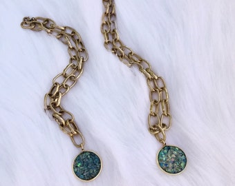 Spring 2018 Mini Collection - Crushed Abalone Resin Pendant w/ Antique Chain