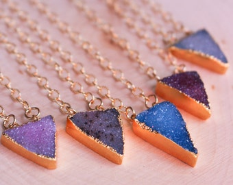 CLEARANCE! || Dainty Triangle Druzy Gold Filled Layering Necklace | Originally 36.00
