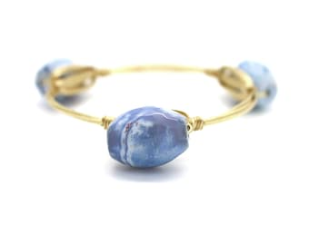 Blue Cracked Agate Wire Wrapped Bangle