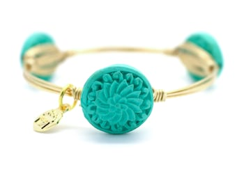 Teal Carved Cinnabar Wire Wrapped Bangle