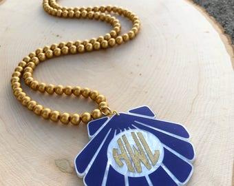 Custom Long Monogram Shell Necklace