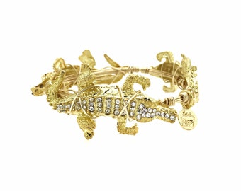 Gold and Crystal Gator Wire Wrapped Bangle