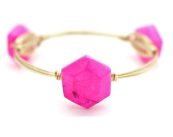 Neon Pink Howlite Wire Wrapped Bangle