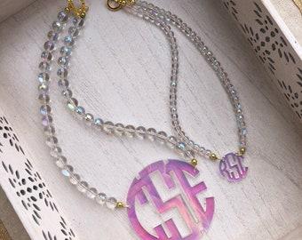 Mommy + Mini Unicorn - Acrylic Monogram Necklace Set