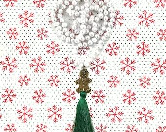 Gingerbread Man Pearl Tassel Necklace