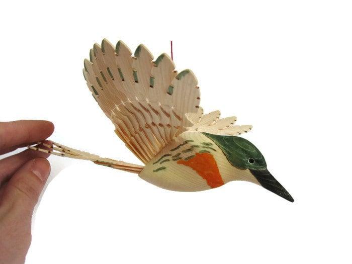 handmade amazon kingfisher hand carved bird woodland