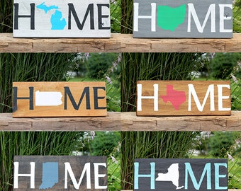 Home Sign.HOME.State Sign.House warming.Gift.Sign.love.Housewares.Home Decor.Barn Wood Signs.Christmas Gift.Customize.New Home (Home Sign)