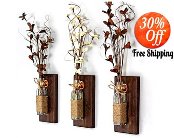 Rustic Wall Decorrustic Home Decorreclaimed Wood Artshabby Chic Decorcountry Decor Sconce