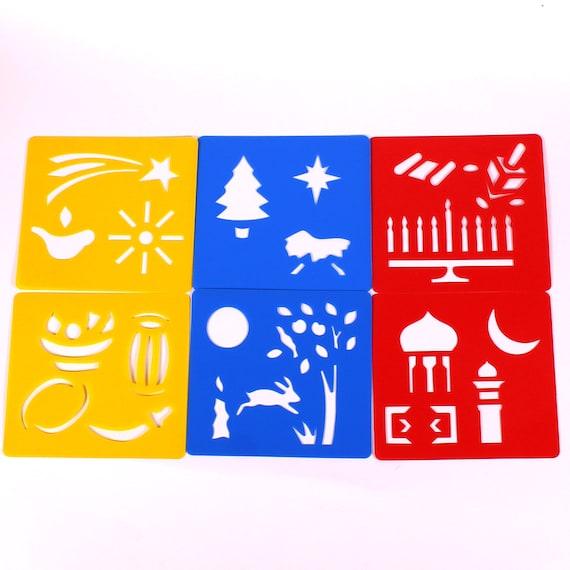 Plastic Jungle Animal Art Stencils Templates Set Kids Safari Drawing Pack of 6