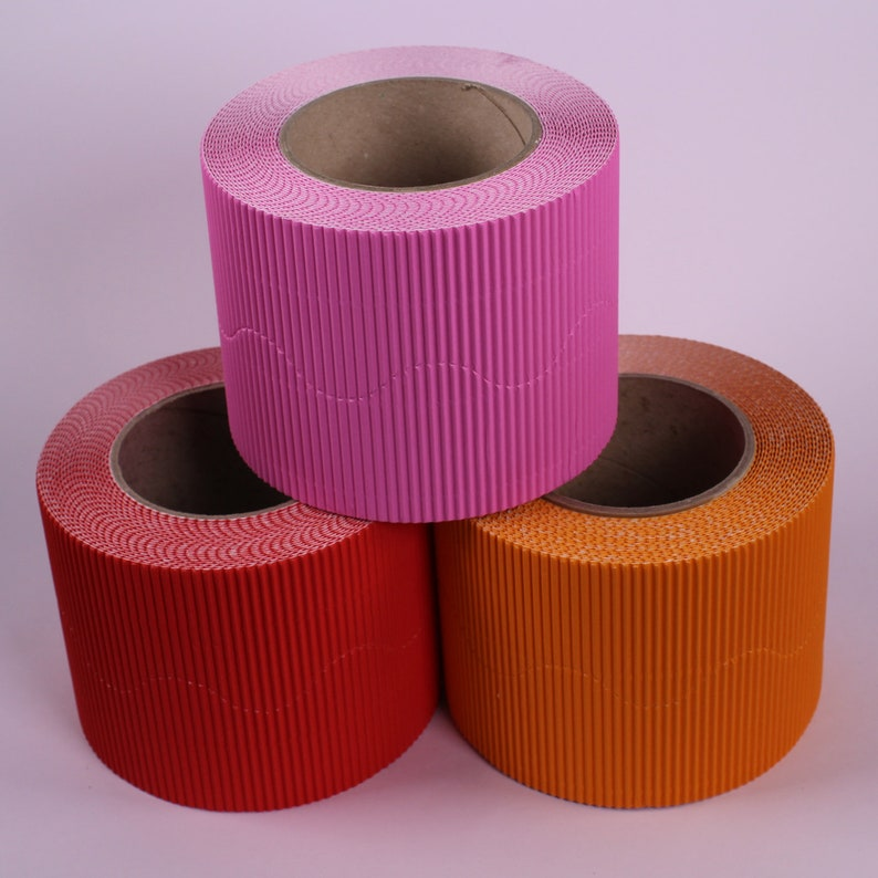 Festival Bright Coloured Wall Display Board Border Corrugated Cardboard  Roll Edging for Classrooms Pack of 3