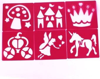 Plastic Fairy Tale Princess Stencils Art Stencils for Kids Fantasy Drawing Pack of 6