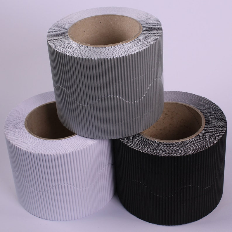 Monochrome Greyscale Wall Display Board Border Corrugated Cardboard Roll  Edging for Classrooms Pack of 3