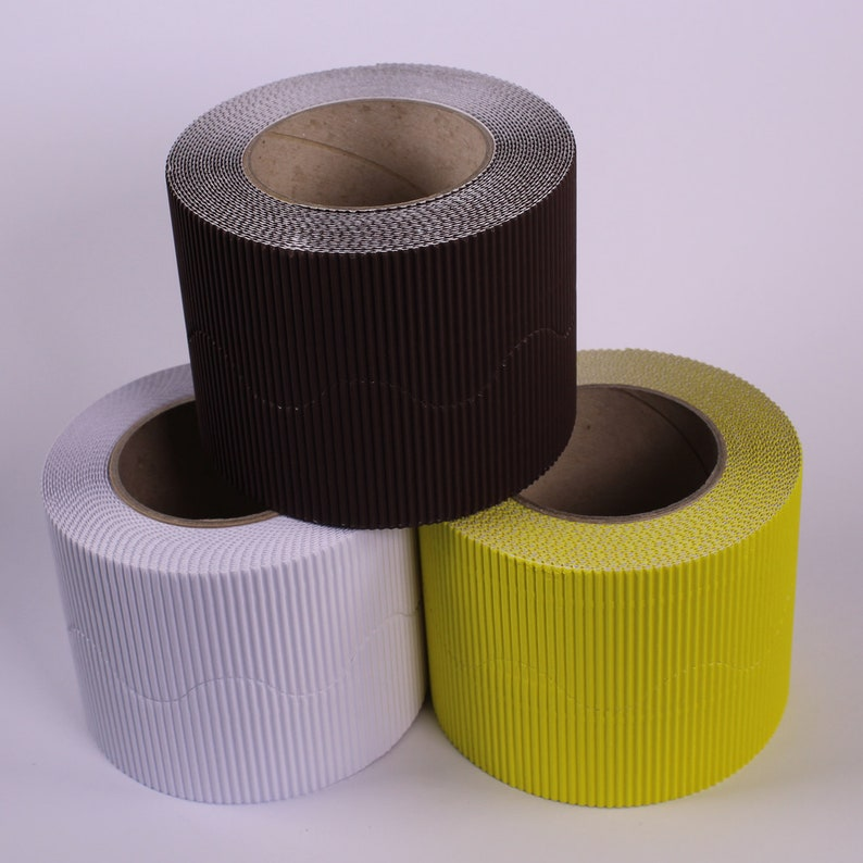 Bold Coloured Wall Board Display Border Corrugated Card Roll Edging 3 Pack