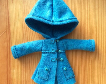 Tropical blue hooded dufflecoat coat for Pullip dolls