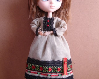 Dress and matching Ppetticoat «Blacky Slavia» for Pullip dolls, Barbie, Momoko or similar sizes
