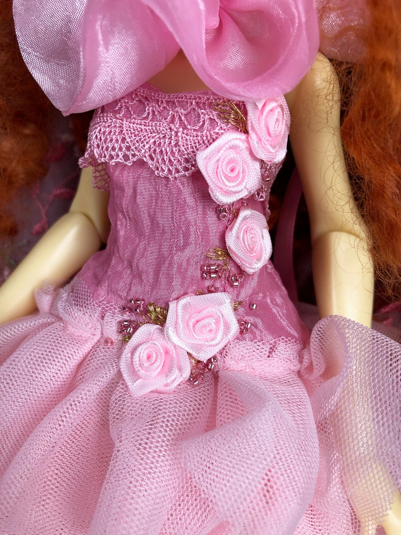 for Slim BJD MSD Doll Pink and gold evening dress