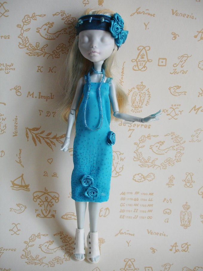 Tenue charleston bleue turquoise pour poup e monster high etsy - Tenue monster high ...