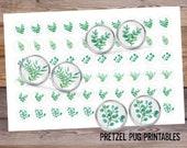 Plant Leaf 12mm Botanical Leaf Images Succulent Digital Collage Images Circle Images Instant Download Cabochon Earring Images