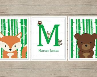 Custom Woodland Animals Wall Art Digital Prints ~ Room Decor ~ Nursery Decor ~ Digital ~ Pick Your Colors and Animals ~ Nursery Decor