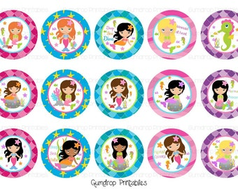 Mermaids Bottle Cap Images ~ Instant Download 4x6 inch ~ 1 Inch Circles ~ Hairbow Centers ~ Girly ~ Printable Image Sheet MR_150