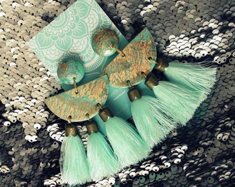 Mint earrings with tassels,polymer clay