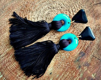 Tassel earrings,turquoise and black,polymer clay