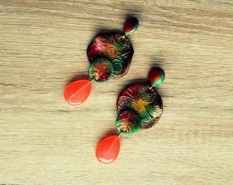 Stud earrings with brazilian jade