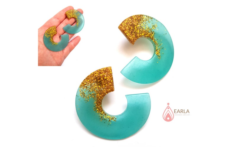 ear stud hoops Translucent turquoise chunky hoop earrings blue and gold stud earrings