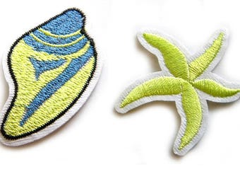 Starfish and Shell Embroidered Patch Appliqué Sequins