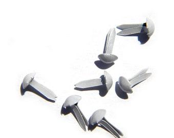 50 White Brads Paper Fasteners Split Pins 9mm