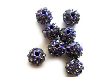 10 Purple Rhinestone Disco Ball Beads 8mm