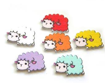 10 Wooden Sheep Buttons