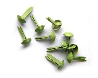 50 Green Brads Paper Fasteners Split Pins 9mm