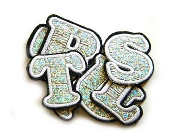 Silver Holographic Letter Embroidered Patch Appliqué