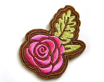 Pink Rose Embroidered Patch Appliqué