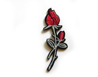 Red Rose Embroidered Patch Appliqué