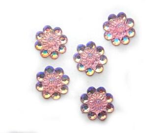 5 Pink Sparkle Flower Flatbacks Resin Cabochons