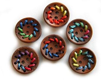 6 Colour Thread Wooden Buttons