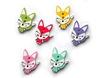 10 Assorted Fox Wooden Buttons