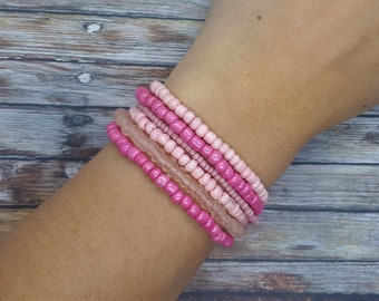 bracelet for women coral pink Handmade rocailles glass beads stretch bracelet set pink and creme colored seed glass beads