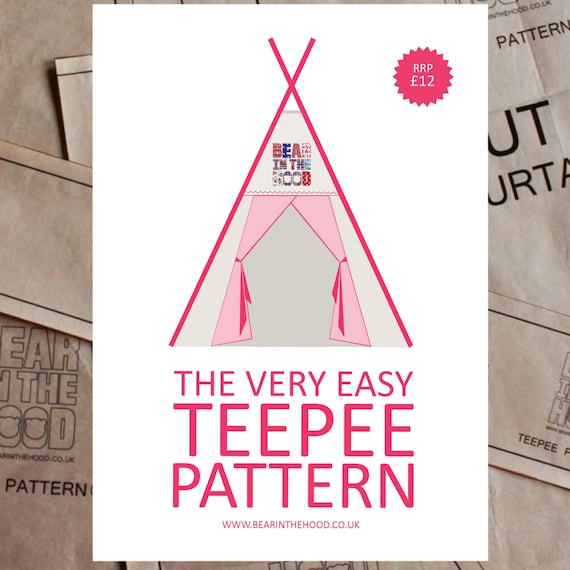The Very Easy Teepee Pattern sew your own teepee paper | Etsy
