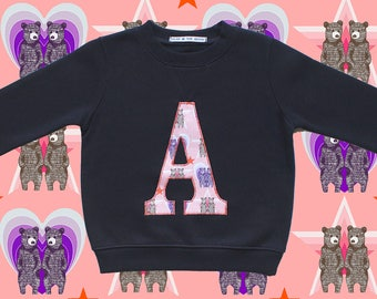 KIDS INITIAL SWEATSHIRT - Pink twin bears