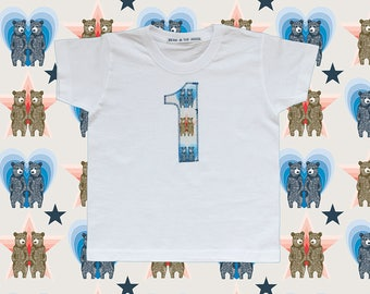 KIDS BIRTHDAY T-SHIRT - twin bears blue