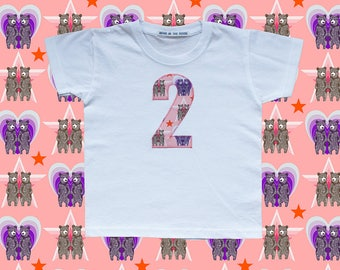 KIDS BIRTHDAY T-SHIRT - twin bears pink