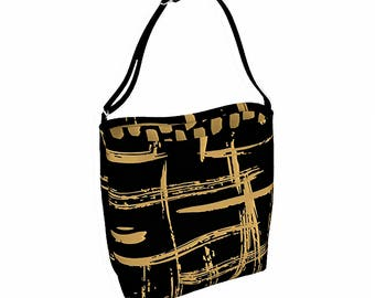 Black Tote Bag With Gold Accents